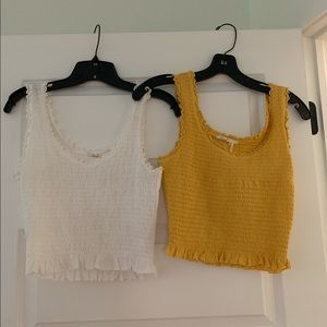 Lot of 2 smocked ruffle crop tops anthropologie